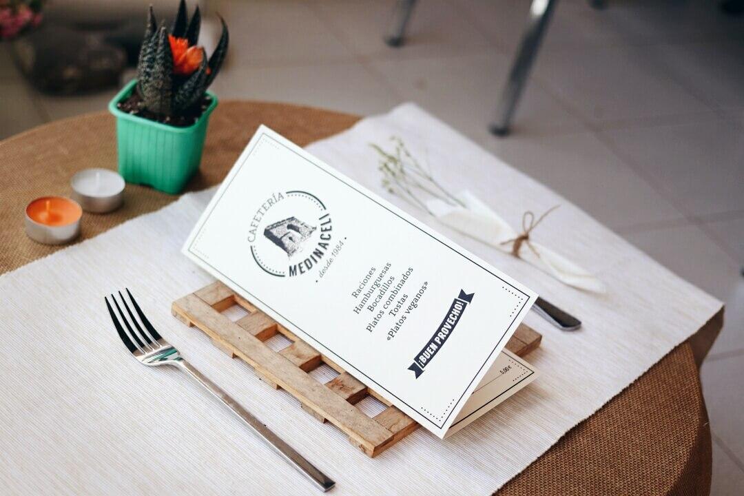 Carta bar cafetería